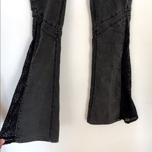 Free people cut out black jeans size 26
